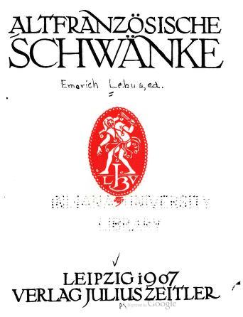 Cover of: Altfranzösische Schwänke | gesammelt und herausgegeben von Emerich Lebus.