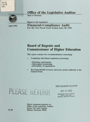 The Board of Regents and the Commissioner of Higher Education financial-compliance audit for the two fiscal years ended June 30 ... by Montana. Legislature. Office of the Legislative Auditor
