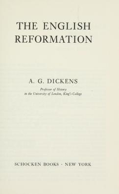 Cover of: The English Reformation | Arthur Geoffrey Dickens