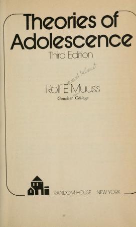 Cover of: Theories of adolescence   Rolf Eduard Helmut Muuss